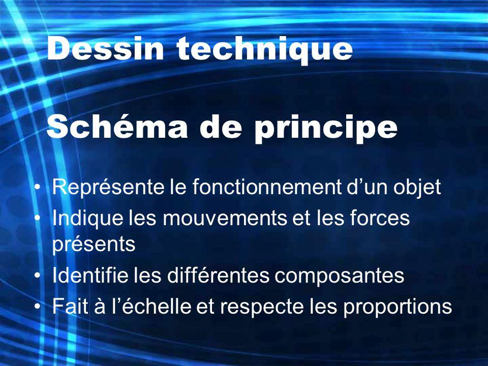 Dessin technique Schéma de principe Représente le fonctionnement dun objet Indique les mouvements et les forces présents Identifie les différentes com