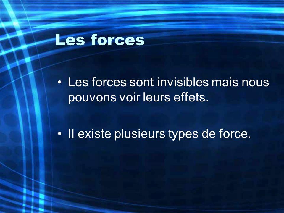 Les forces Les forces sont invisibles mais nous pouvons voir leurs effets. Il existe plusieurs types de force.