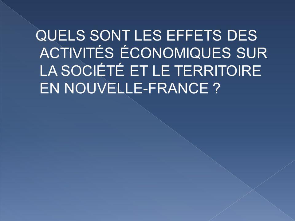 QUELS SONT LES EFFETS DES ACTIVITÉS ÉCONOMIQUES SUR LA SOCIÉTÉ ET LE TERRITOIRE EN NOUVELLE-FRANCE ?