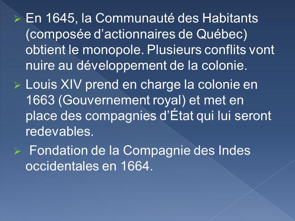 En 1645, la Communauté des Habitants (composée dactionnaires de Québec) obtient le monopole. Plusieurs conflits vont nuire au développement de la colo