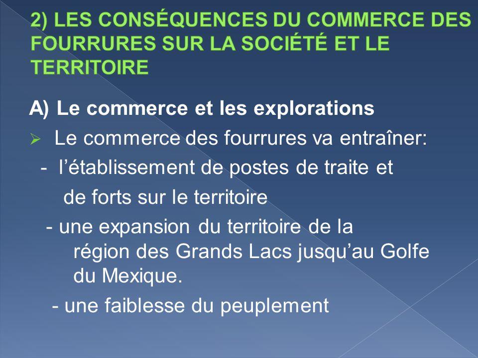 A) Le commerce et les explorations Le commerce des fourrures va entraîner: - létablissement de postes de traite et de forts sur le territoire - une ex
