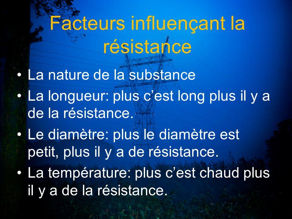 Facteurs influençant la résistance La nature de la substance La longueur: plus cest long plus il y a de la résistance. Le diamètre: plus le diamètre e