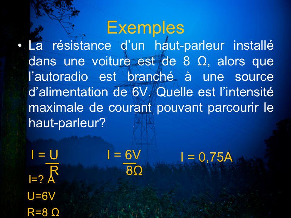 Exemples La résistance dun haut-parleur installé dans une voiture est de 8 Ω, alors que lautoradio est branché à une source dalimentation de 6V. Quell