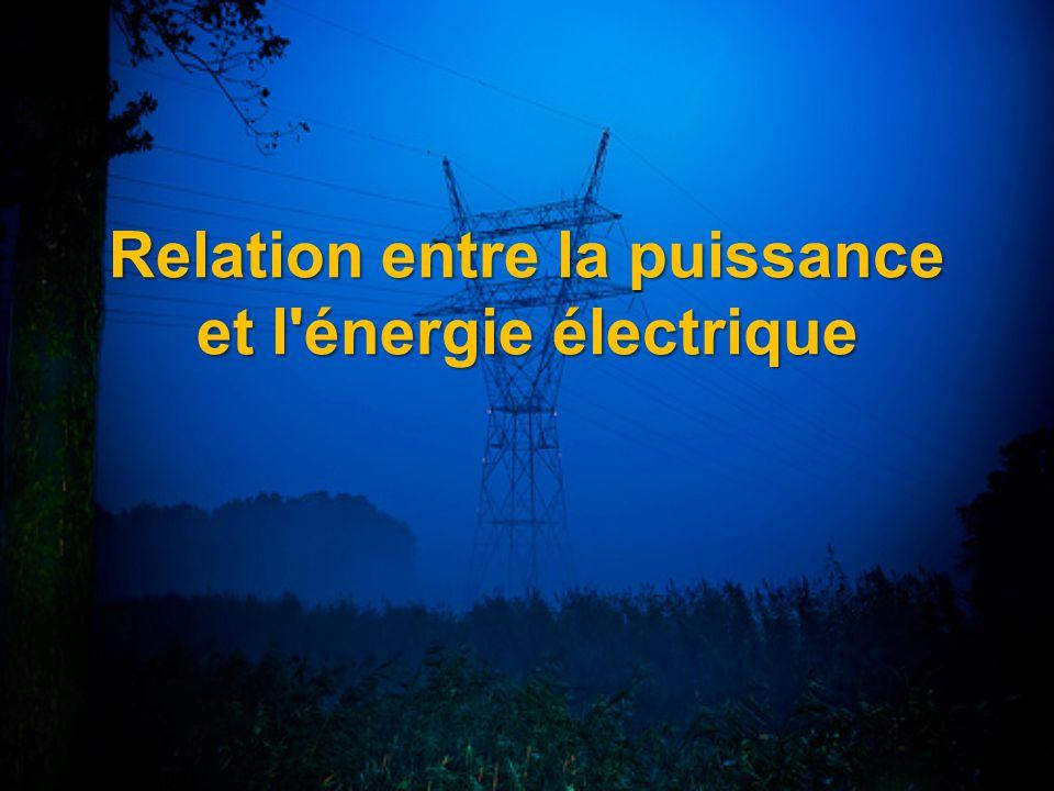Relation entre la puissance et l'énergie électrique