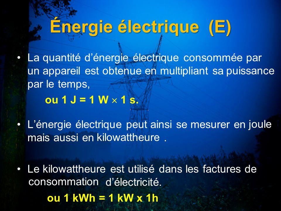 Énergie électrique (E) La quantité dénergie électrique consommée par un appareil est obtenue en multipliant sa par le temps, ou 1 J = 1 W 1 s. Lénergi