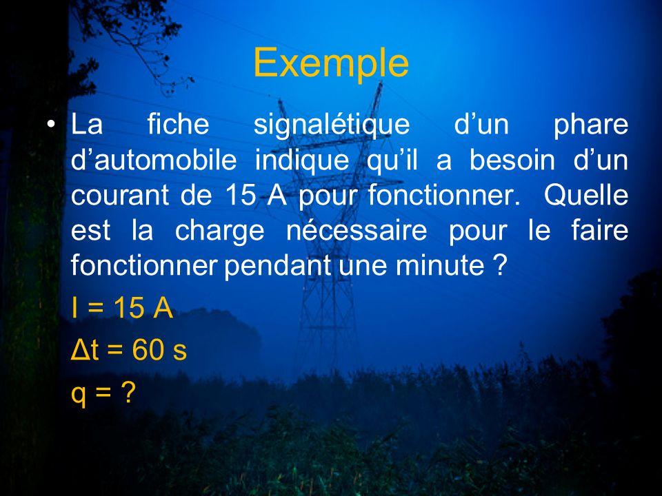 Exemple La fiche signalétique dun phare dautomobile indique quil a besoin dun courant de 15 A pour fonctionner. Quelle est la charge nécessaire pour l