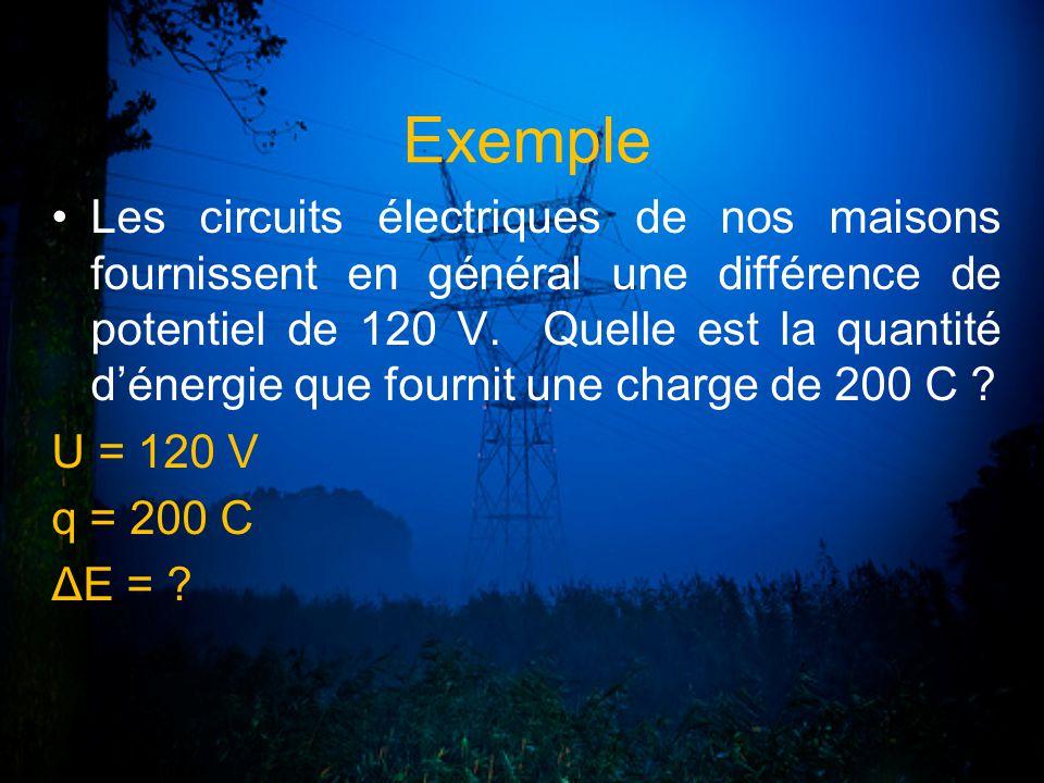 Exemple Les circuits électriques de nos maisons fournissent en général une différence de potentiel de 120 V. Quelle est la quantité dénergie que fourn
