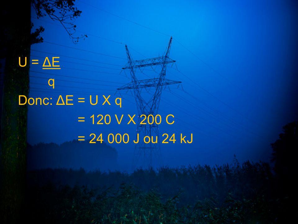 U = ΔE q Donc: ΔE = U X q = 120 V X 200 C = 24 000 J ou 24 kJ