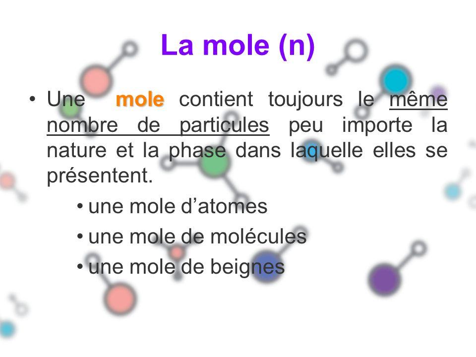 La mole (n) moleUne mole contient toujours le même nombre de particules peu importe la nature et la phase dans laquelle elles se présentent. une mole