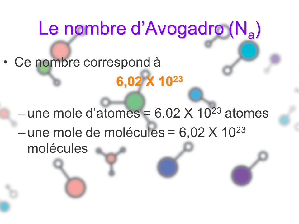 Le nombre dAvogadro (N a ) Ce nombre correspond à 6,02 X 10 23 –une mole datomes = 6,02 X 10 23 atomes –une mole de molécules = 6,02 X 10 23 molécules