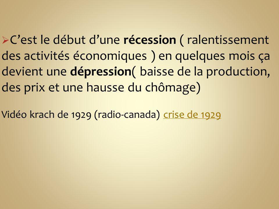 Cest le début dune récession ( ralentissement des activités économiques ) en quelques mois ça devient une dépression( baisse de la production, des pri