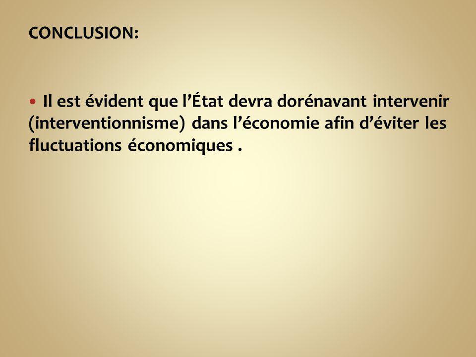 CONCLUSION: Il est évident que lÉtat devra dorénavant intervenir (interventionnisme) dans léconomie afin déviter les fluctuations économiques.