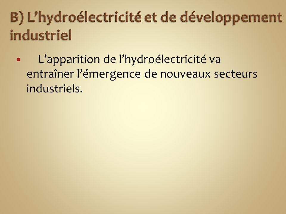 Lapparition de lhydroélectricité va entraîner lémergence de nouveaux secteurs industriels.