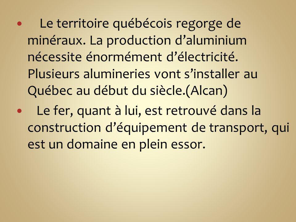 Le territoire québécois regorge de minéraux. La production daluminium nécessite énormément délectricité. Plusieurs alumineries vont sinstaller au Québ