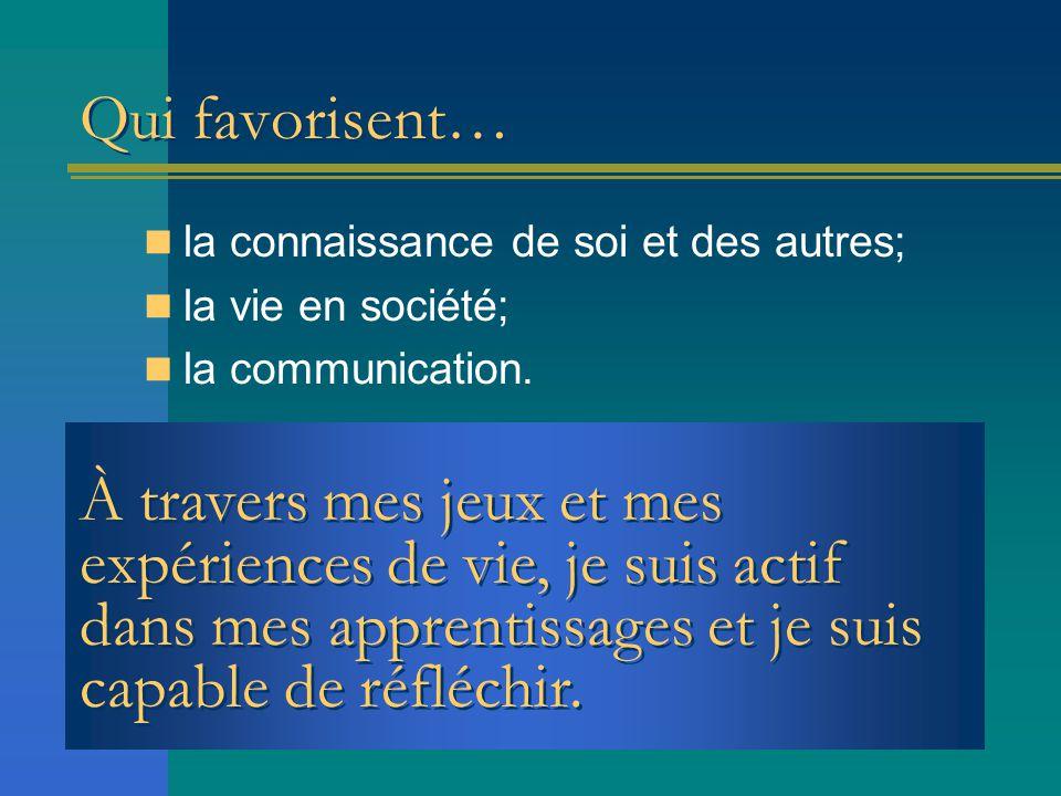 Qui favorisent… la connaissance de soi et des autres; la vie en société; la communication. À travers mes jeux et mes expériences de vie, je suis actif
