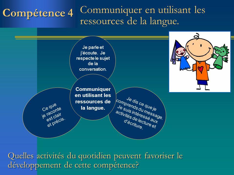 Compétence 4 Communiquer en utilisant les ressources de la langue. Je parle et jécoute. Je respecte le sujet de la conversation. Ce que je raconte est