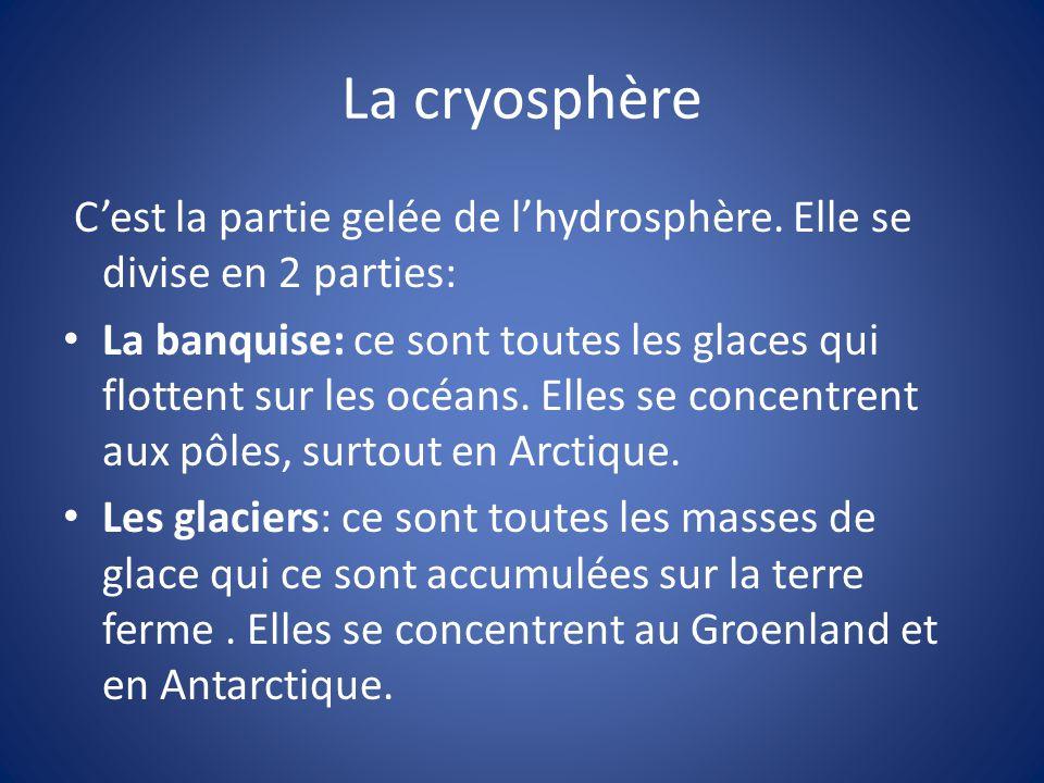 La cryosphère Cest la partie gelée de lhydrosphère. Elle se divise en 2 parties: La banquise: ce sont toutes les glaces qui flottent sur les océans. E
