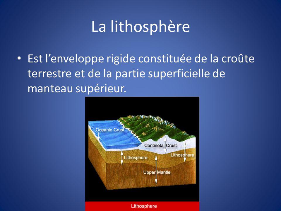 La lithosphère Est lenveloppe rigide constituée de la croûte terrestre et de la partie superficielle de manteau supérieur.