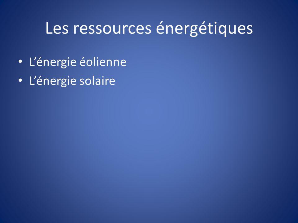 Les ressources énergétiques Lénergie éolienne Lénergie solaire