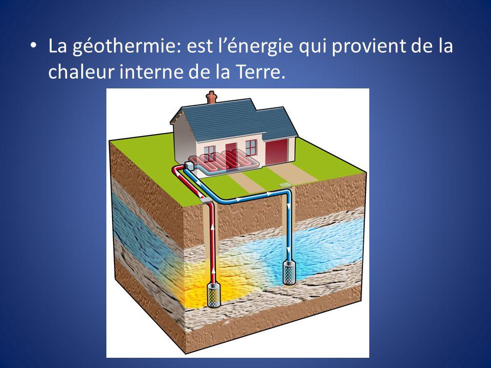 La géothermie: est lénergie qui provient de la chaleur interne de la Terre.