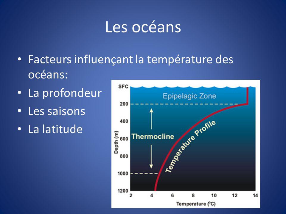 Les océans Facteurs influençant la température des océans: La profondeur Les saisons La latitude