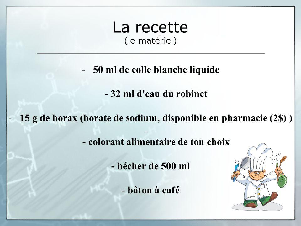 La recette (le matériel) -50 ml de colle blanche liquide - 32 ml d'eau du robinet -15 g de borax (borate de sodium, disponible en pharmacie (2$) ) - -
