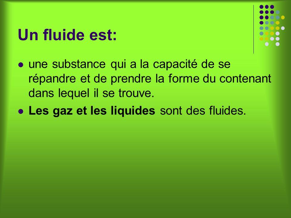 Un fluide est: une substance qui a la capacité de se répandre et de prendre la forme du contenant dans lequel il se trouve.