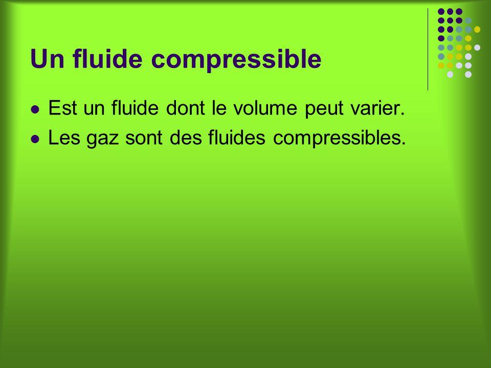 Un fluide compressible Est un fluide dont le volume peut varier.