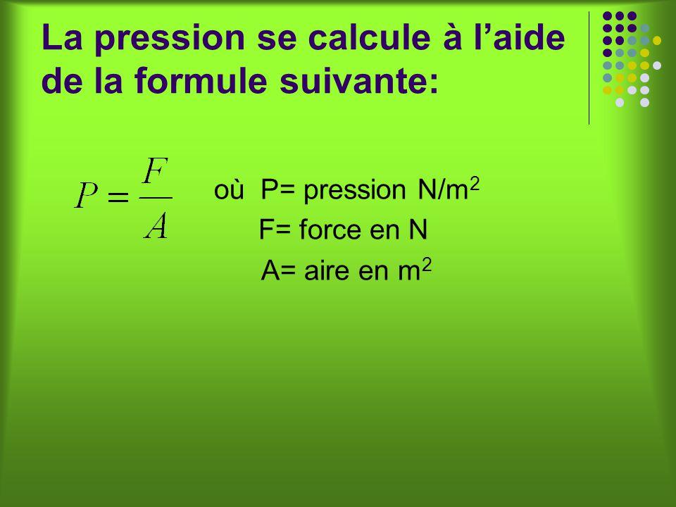 La pression se calcule à laide de la formule suivante: où P= pression N/m 2 F= force en N A= aire en m 2