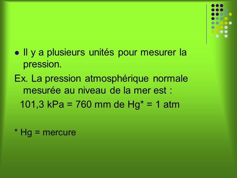Il y a plusieurs unités pour mesurer la pression.Ex.