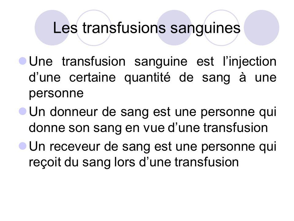 Les transfusions sanguines Une transfusion sanguine est linjection dune certaine quantité de sang à une personne Un donneur de sang est une personne q