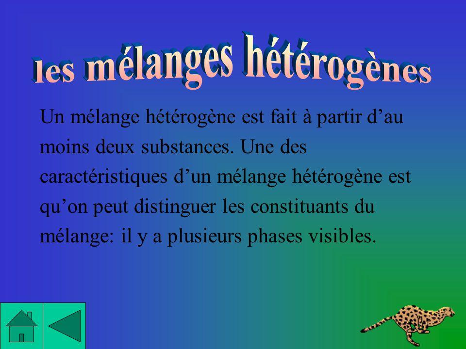 Voici les deux principales caractéristiques des mélanges hétérogènes: - Ils ont au moins deux phases visibles - Ils sont opaques.