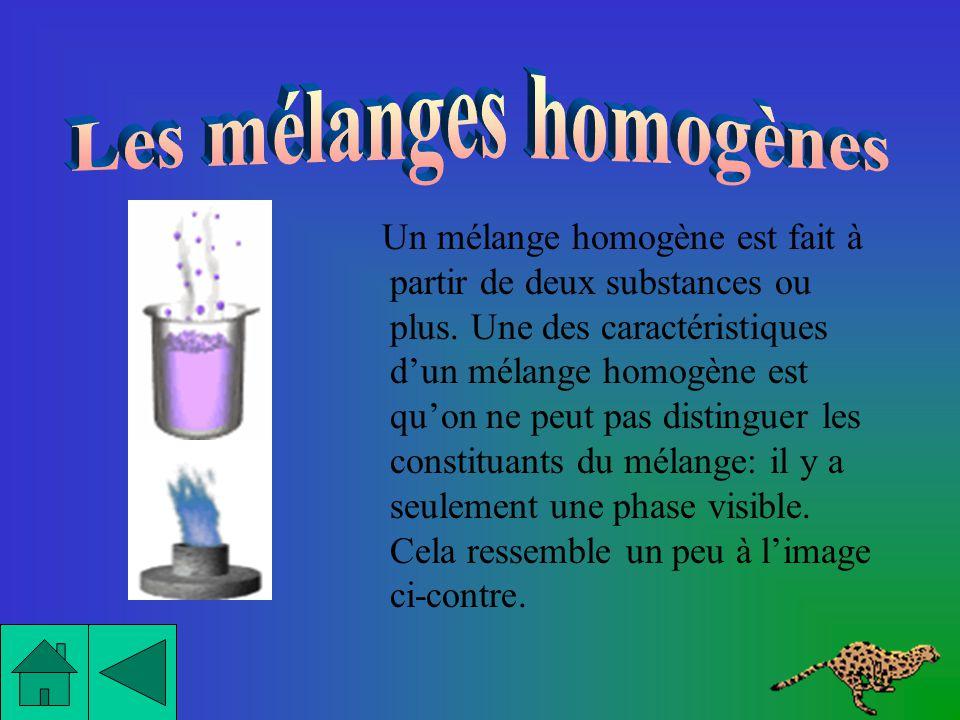 Voici les 2 principales caractéristiques dun mélange homogène: -Il ny a quune seule phase visible. -Il est limpide (pour les liquides et les gaz).