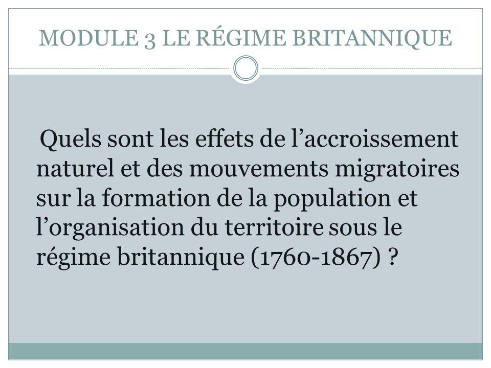 MODULE 3 LE RÉGIME BRITANNIQUE Quels sont les effets de laccroissement naturel et des mouvements migratoires sur la formation de la population et lorganisation du territoire sous le régime britannique (1760-1867) ?