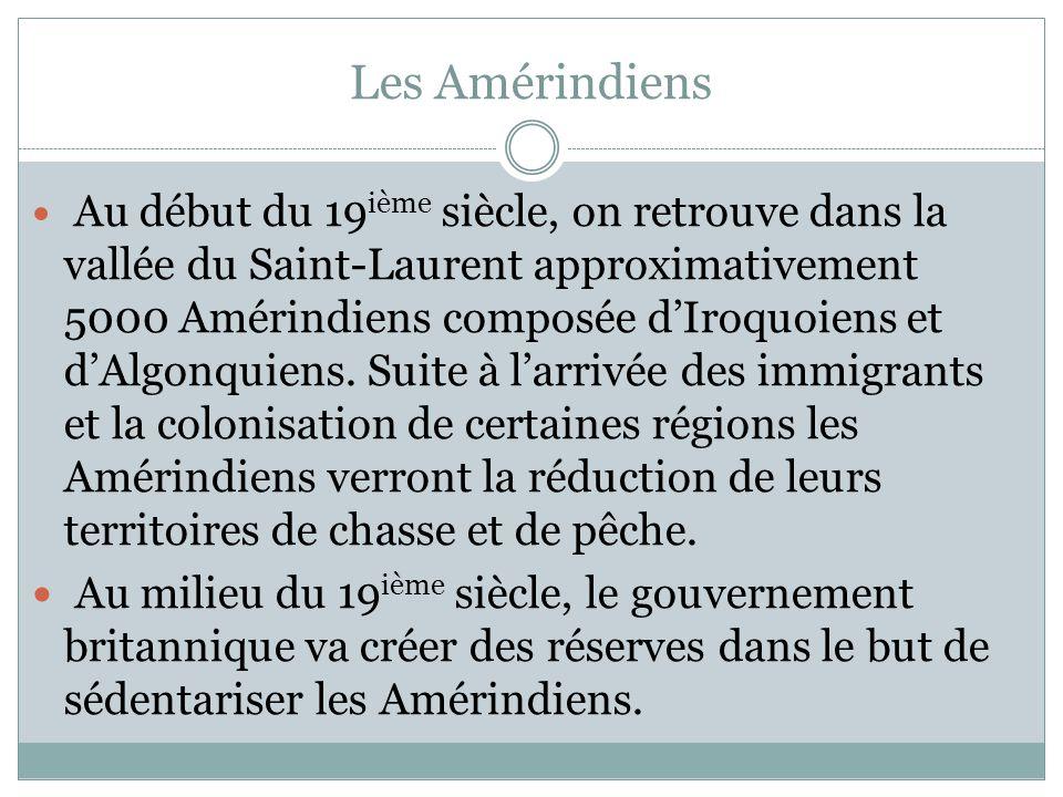 Les Amérindiens Au début du 19 ième siècle, on retrouve dans la vallée du Saint-Laurent approximativement 5000 Amérindiens composée dIroquoiens et dAlgonquiens.