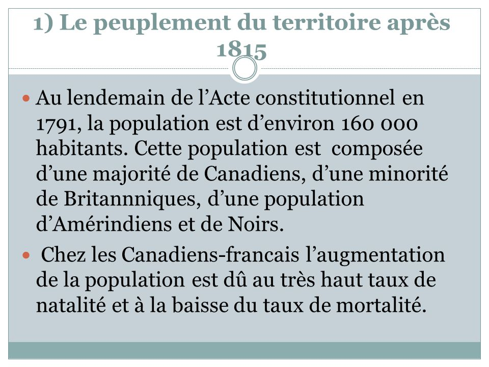 1) Le peuplement du territoire après 1815 Au lendemain de lActe constitutionnel en 1791, la population est denviron 160 000 habitants. Cette populatio