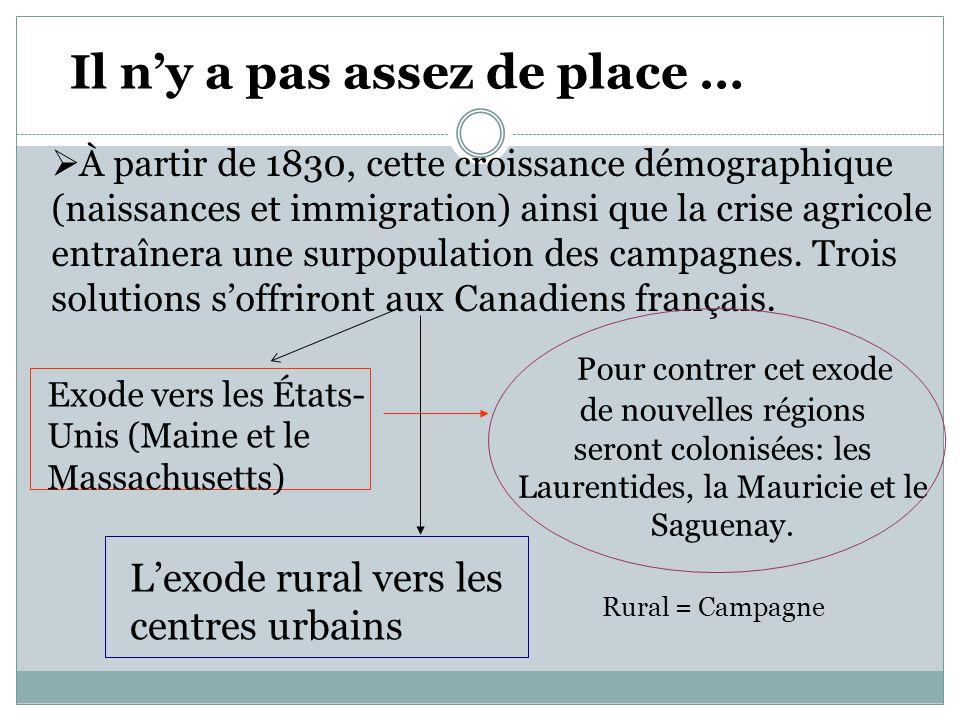 À partir de 1830, cette croissance démographique (naissances et immigration) ainsi que la crise agricole entraînera une surpopulation des campagnes.