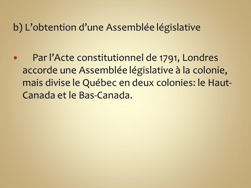 b) Lobtention dune Assemblée législative Par lActe constitutionnel de 1791, Londres accorde une Assemblée législative à la colonie, mais divise le Québec en deux colonies: le Haut- Canada et le Bas-Canada.