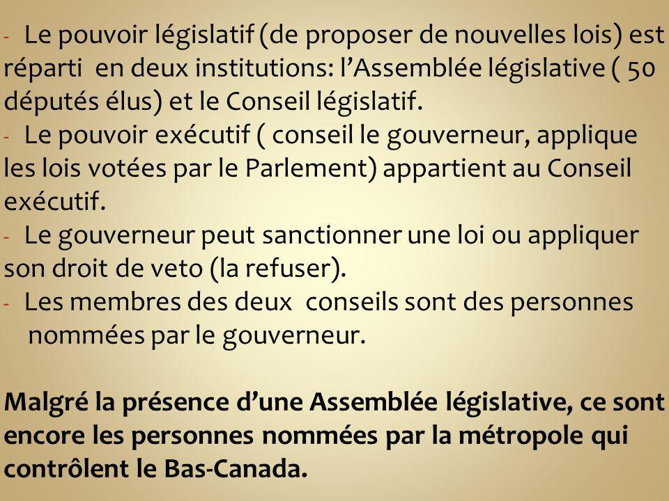 - Le pouvoir législatif (de proposer de nouvelles lois) est réparti en deux institutions: lAssemblée législative ( 50 députés élus) et le Conseil législatif.