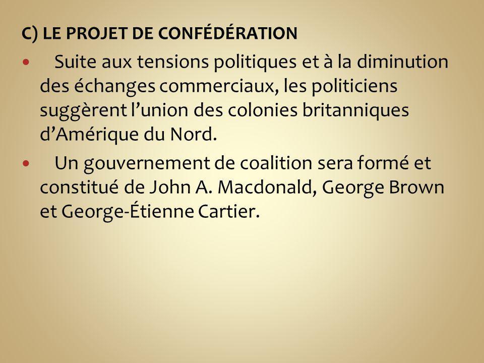 C) LE PROJET DE CONFÉDÉRATION Suite aux tensions politiques et à la diminution des échanges commerciaux, les politiciens suggèrent lunion des colonies britanniques dAmérique du Nord.