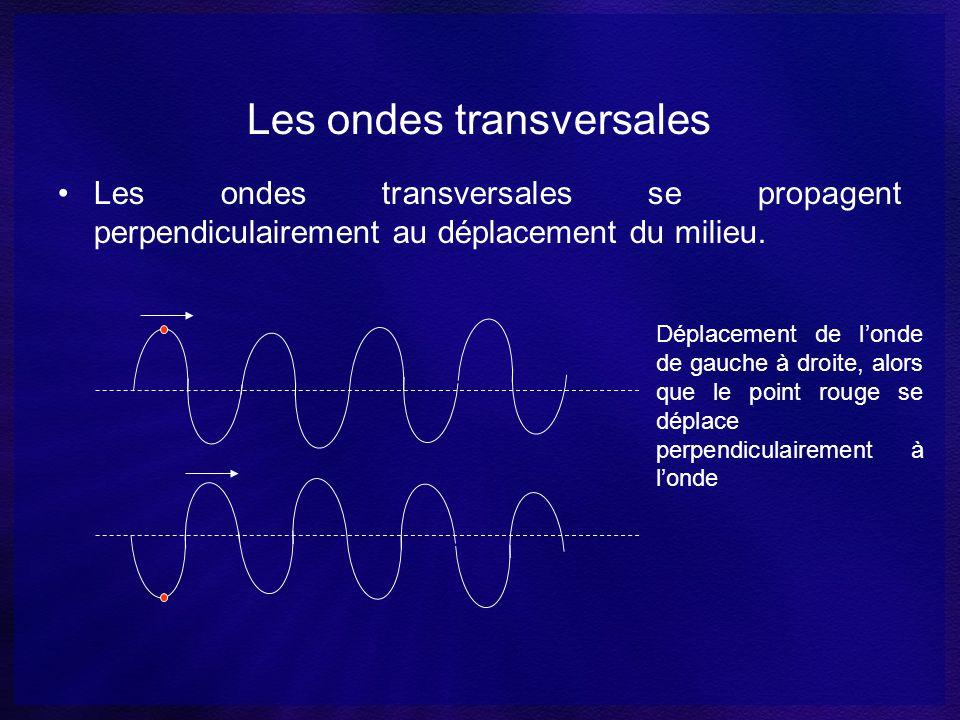 Les ondes longitudinales Les ondes longitudinales sont des ondes qui se propagent parallèlement au déplacement du milieu.