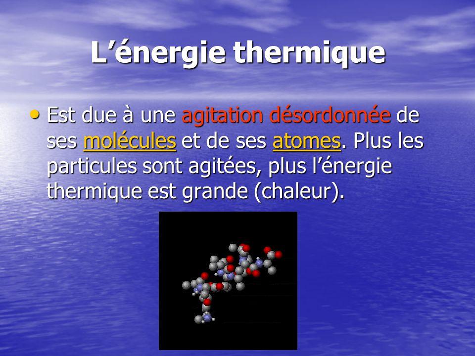 Lénergie thermique Est due à une agitation désordonnée de ses molécules et de ses atomes.