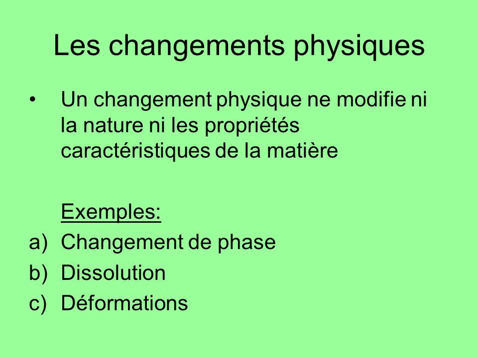 Les changements physiques Un changement physique ne modifie ni la nature ni les propriétés caractéristiques de la matière Exemples: a)Changement de ph