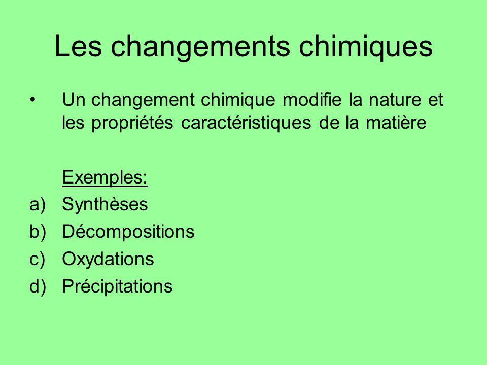 Les changements chimiques Un changement chimique modifie la nature et les propriétés caractéristiques de la matière Exemples: a)Synthèses b)Décomposit