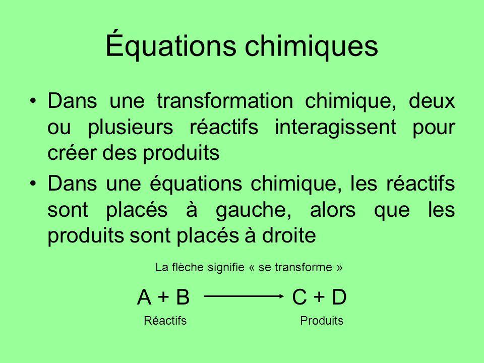 Équations chimiques Dans une transformation chimique, deux ou plusieurs réactifs interagissent pour créer des produits Dans une équations chimique, le