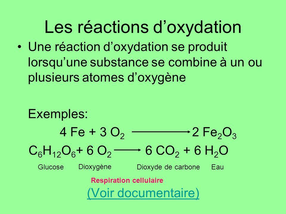 Les réactions doxydation Une réaction doxydation se produit lorsquune substance se combine à un ou plusieurs atomes doxygène Exemples: 4 Fe + 3 O 2 2