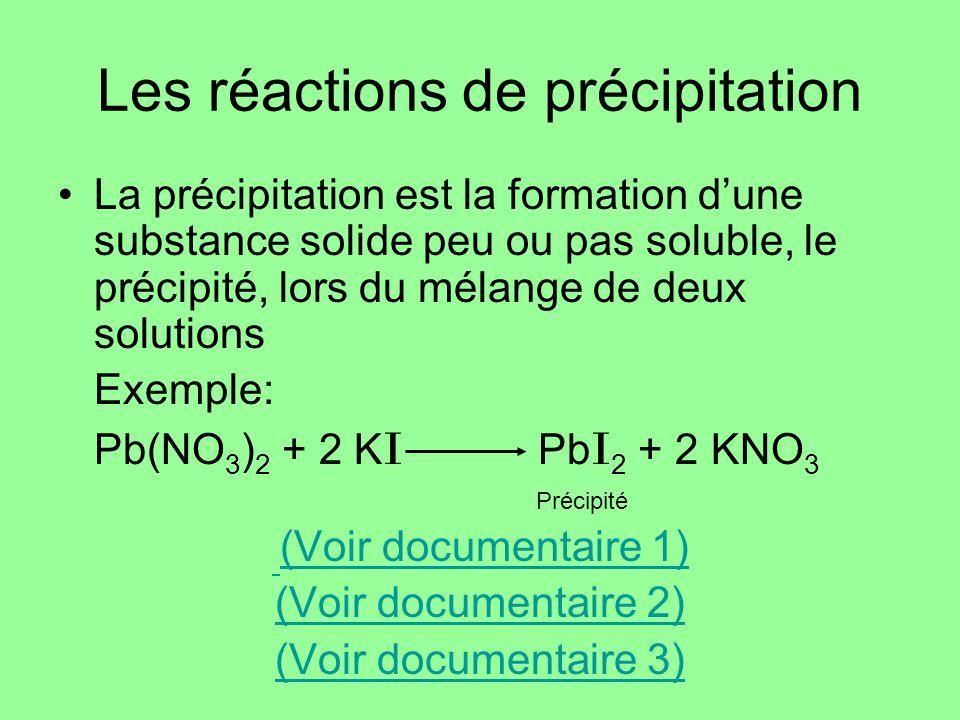 Les réactions de précipitation La précipitation est la formation dune substance solide peu ou pas soluble, le précipité, lors du mélange de deux solut