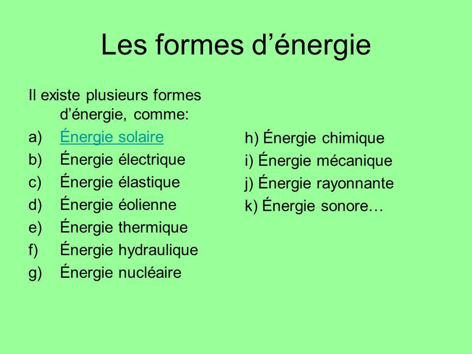 Les formes dénergie Il existe plusieurs formes dénergie, comme: a)Énergie solaireÉnergie solaire b)Énergie électrique c)Énergie élastique d)Énergie éo