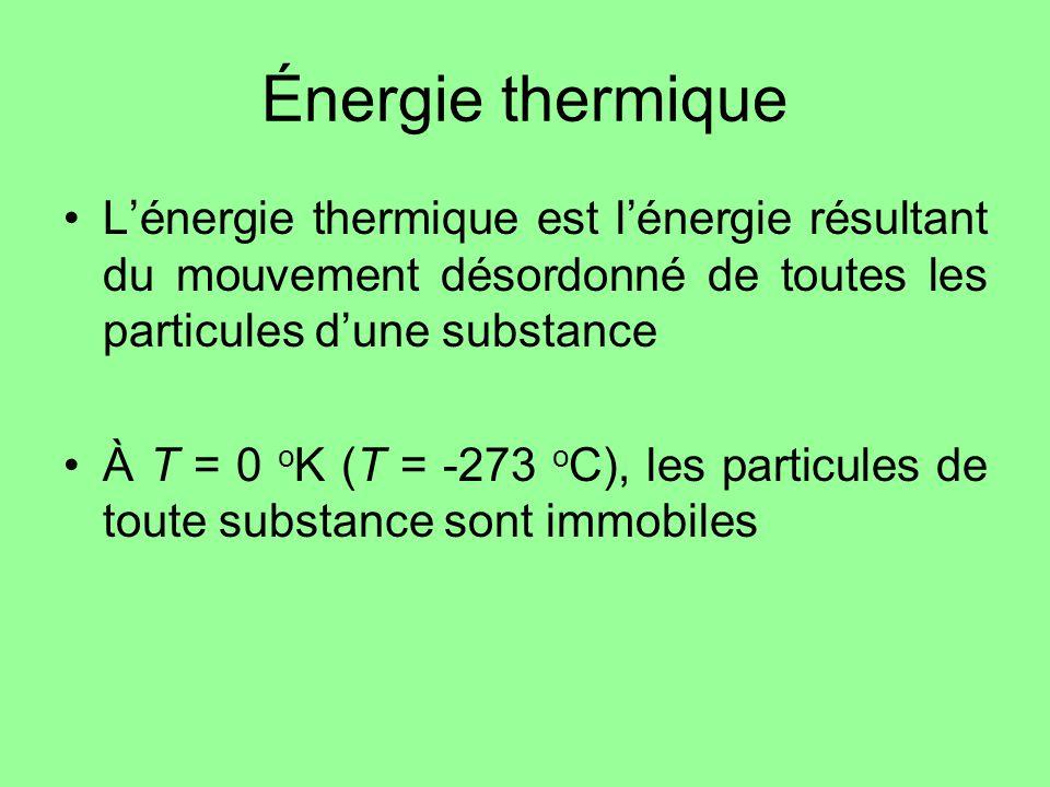 Énergie thermique Lénergie thermique est lénergie résultant du mouvement désordonné de toutes les particules dune substance À T = 0 o K (T = -273 o C)