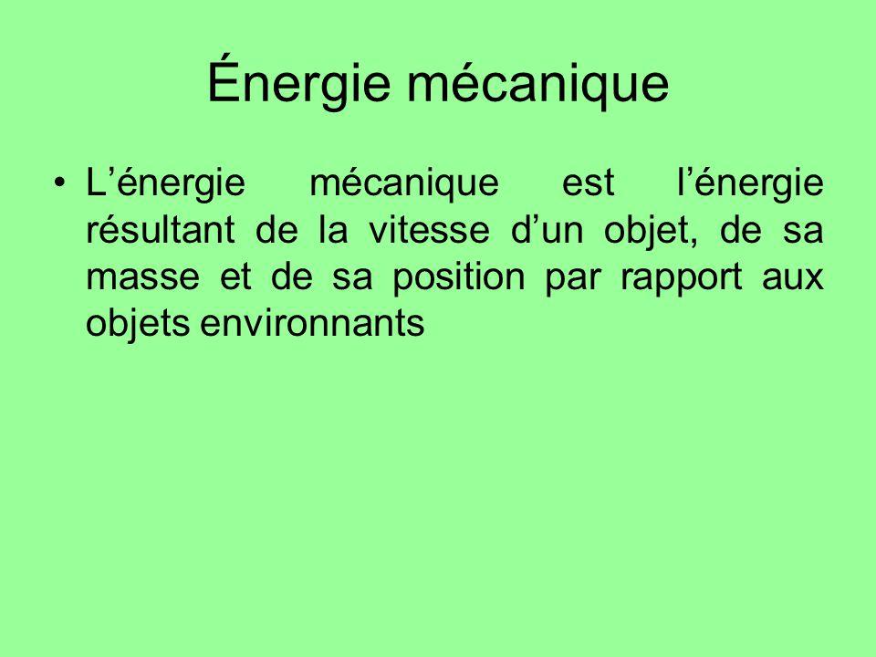 Énergie mécanique Lénergie mécanique est lénergie résultant de la vitesse dun objet, de sa masse et de sa position par rapport aux objets environnants